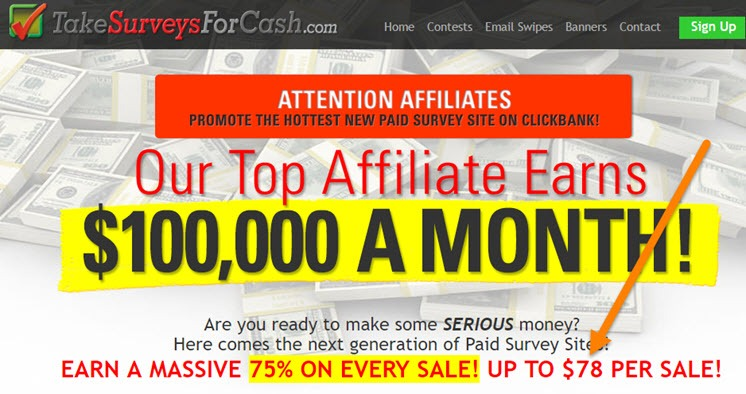 Take surveys for cash affiliate program