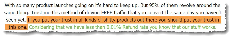 sales page snippet